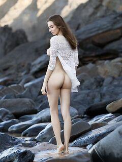 Раздетая красивая девица показала себя у океана - фото