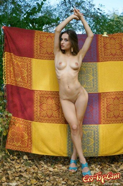 Голая девушка позирует  на фоне пледа - фото эротика